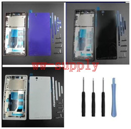 Wholesale Xperia Z Back - Wholesale 5Pcs For Sony Xperia Z L36h C6602 C6603 Full Housing Front Chassis Frame Side Stripe Port Cover Back Battery Cover Case Tool