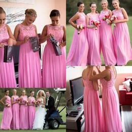 10417d1de Vestido de dama de honor largo de encaje de cuello alto rosa Vestido de  fiesta de casa de gasa popular Vestidos de fiesta de longitud de piso de gasa  gasa ...