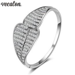 Wholesale Vecalon Hyperbole channel setting A zirconia cubica Bracciale fidanzamento Bracciale rigido in oro bianco con gemelli
