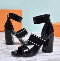 Wholesale Blue Zip Ties - Top quality 2018 Luxury shoes Designer women Genuine Leather high heels sandals sexy platform shoes famous brand sandalia feminina
