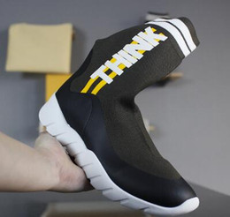Wholesale High Fashion Knitting - Discount cheap Think High With Stretch Knit Material,Fashion Sock-like footwear Gym Jogging training latest luxury Shoes,training Sneakers