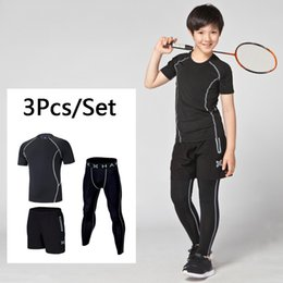 7992d66c83 Kids Base Layer Running Sets Compression Pants Tracksuit 2PCS Fitness Tights  T-shirts Leggings Basketball Gym Sports Suits boys basketball pants on sale