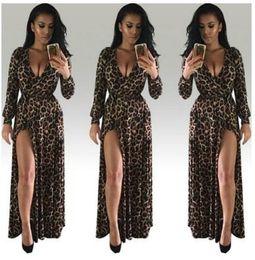 Wholesale Maxi Long Dress Leopard Print - Womens Sexy Dress Leopard Print Deep V Neck Long Sleeve Dress High Slit Belted Maxi Long Trailing Skirt