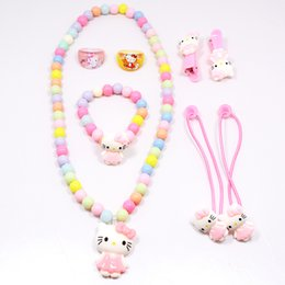 b38580c07 Hot Sale Children Baby Girl Hair Accessories Set Hello Kitty Jewelry Set  Rings Hair Rope Necklace Bracelet Hairpin Party Gifts