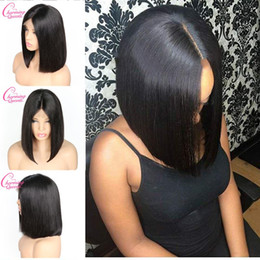 wholesale silky hair Coupons - KL Hair 13*6 Deep Part Lace Front Human Hair Wigs Bob Natural Black For Women Brazilian Remy Hair Straight Short Bob Lace Wigs