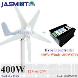 Wholesale power wind generators - 400w Max power 410w small wind generator with 900w PWM wind solar hybrid charge controller(For 600w wind turbine+300w solar panel)