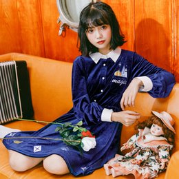 vestido de corpo branco preto e preto Desconto Coreano Do Vintage Azul Fantasia Vestido Mulheres Lolita Japonês Manga Longa Castelo Kawaii Padrão Veludo Camisa Vestido Para Meninas Mágicas