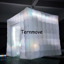 Wholesale Photo Booth Tent - LED light photo booth,inflatable cube tent with led lights Mobile Square Show Display Cube Tent inflatable party