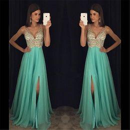 V Neck Sheer Hand Beading Blue Crystals Long Prom Dresses Floor Length Backless Party Evening Dress Vestidos De Graduacion