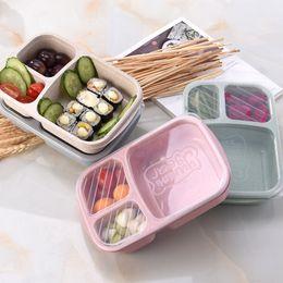 Behälterdeckel online-Student Lunch Box 3 Gitter Weizenstroh biologisch abbaubar Mikrowelle Bento Box Kinder Essen Aufbewahrungsbox Schule Lebensmittelbehälter mit Deckel