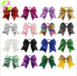 Wholesale fashion hairbands - Baby Sequin hair ring Headbands Fashion Girls Glitter Bows hairbands Bling kids Rubber band sequins Hair Accessories KKA5152