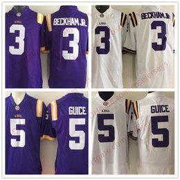 Wholesale Red Hot White - NCAA LSU Tigers #3 Odell Beckham Jr. #5 Derrius Guice Hot Sell Game Jersey Purple White Sec College Football Stitched Adult Jerseys S-3XL