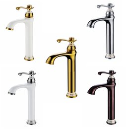 Wholesale painting bathroom faucets - European Antique Copper Paint On The Basin Raised The Bathroom Faucet Single Hole Single Hot And Cold Faucet At-8