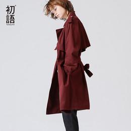 Wholesale trench coat feminino - Women Trench Coat Loose Turndown Collar Solid Coat Cotton Single Breasted Windbreaker For Women Casaco Feminino