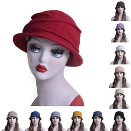 Wholesale Red Boils - Womens Classic Boiled 100% Wool Wrinkle Beanie Cloche Bucket Winter Warm Church Dress Crochet Hat T175