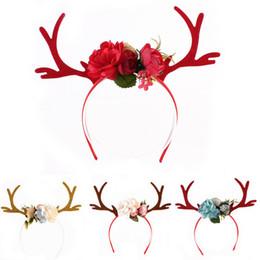 decorazioni personalizzate di cupcake Sconti 1 PCS XMAS fascia dell'orecchio regalo delle donne Girs Kid Natale Deer Antlers costume fascia dei capelli del partito Nuovo caldo floreale Hairband