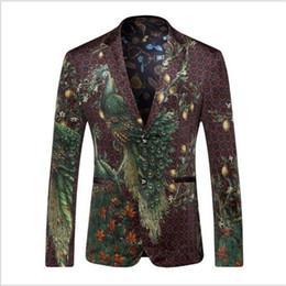 Al por mayor-Hombres Blazers y Chaquetas 2016 Peacock Blazer impreso hombres de la moda del diseñador del juego Blazer Masculino abrigo ocasional vestido de novia HZ416 desde fabricantes