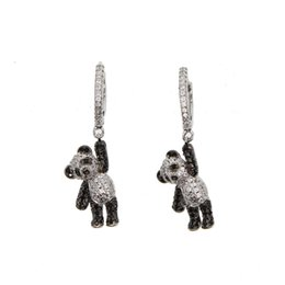 flower girl bear Coupons - 2018 girl gift jewelry lovely cute animal charm dangle earring micro pave cz black white dog bear charm adorable earrings
