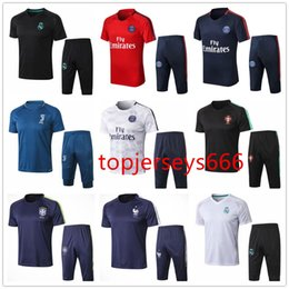 Wholesale portugal xl soccer jersey - France Portugal Brasil Short sleeve 3 4 pants tracksuit 2018 World Cup summer tracksuit soccer jersey 18-19 Real Madrid Training suit Pants