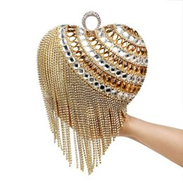 Forma do saco do anel de casamento on-line-Coração Em Forma de Borla Mulheres Mensageiro Sacos de Diamantes Anel de Diamante Pequena Bolsa Embreagens Dia Handbgas Para O Jantar Do Partido Do Casamento