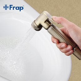 shattaf bidet spray Coupons - FRAP 1set Retro Style Solid Hand held Bidet Brass Spray Shattaf Shower Head Spray Nozzle Press Button Bathroom Accessories F24-4