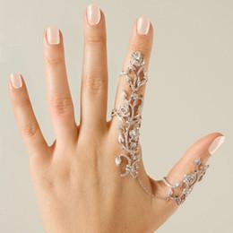 Doppel-finger-legierung ring online-Modeschmuck Vintage Gold Silber Kette Link Zwei Fingerringe Für Frauen Doppel Ring Legierung Laub Hochzeit Liebe Anillos