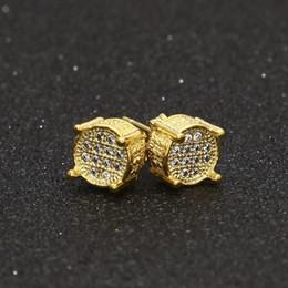Wholesale Copper Shine - Hip hop Men Silver Gold Earring Shining Full Zircon Round Stud Earrings Women Trendy Jewelry 9mmx9mm