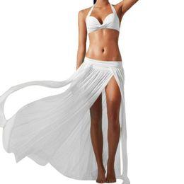 Wholesale chiffon long skirts for women - Women Sexy Boho Chiffon Transparent Skirt Low Waist Long Maxi Skirt Split Beach Midi Pleated for Female Saia Candy Color