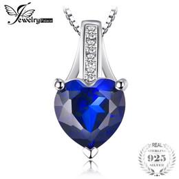 ciondoli in argento 925 zaffiro blu Sconti JewelryPalace Fashion 1,73 ct Creato ciondolo a cuore con zaffiro blu Gioielli in argento sterling 925 per donna non include una catena