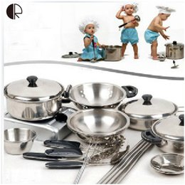Kids Pretend Play Kitchen Toys 18pcs set Kitchenware Miniature Cooking Set  For Children Kitchen Accessories Set brinquedo HT139