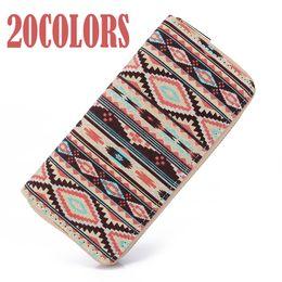 Wholesale Tribal Phone - Sansarya 10 Colors Bohemia Woven Boho Long Women Wallet Aztec Female Purse Ladies Tribal Card Holder Girls With Cupreous Zipper
