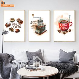 Wholesale Cup Coffee Pictures - COLORFULBOY Minimalism Modern Coffee Cup Canvas Painting Vintage Wall Art Print Poster Wall Pictures For Living Room Home Decor