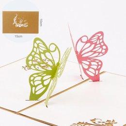 Carta a mano creativa 3D Due biglietti di auguri farfalla di San Valentino carta regalo di San Valentino invito festa di compleanno con busta cheap invitations butterflies da farfalle di inviti fornitori
