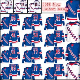 Wholesale Fast Custom - 2018 New York Rangers Custom Jersey Men's #31 Ondrej Pavelec 55 Nick Holden 19 Jesper Fast 26 Jimmy Vesey 51 Desharnais stitched Jersey