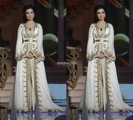 Wholesale Embroidery Caftan - Moroccan Caftan Kaftan Dubai Abaya Arabic Long Sleeve Evening Dresses Amazing Gold Embroidery V-neck Occasion Prom Formal Gowns 2018