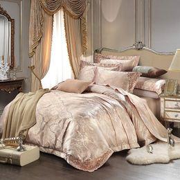 Wholesale Bamboo Silk Sheets - New European Satin Jacquard bedding sets soft slippery Bamboo fiber linens Queen King Set duvet cover set+flat sheet+pillo