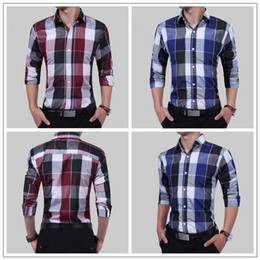 Wholesale Wholesale Men Business Shirts - 2 Colors Men Sporting Life Plaid Shirt Long Sleeve Casual Shirts Button Business Dress Shirt CCA9115 10pcs