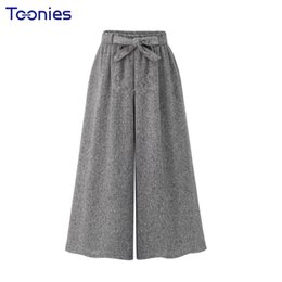 Wholesale Loose Trousers Women - Autumn 2018 New Womens All-match Wide Leg Pants Female Elastic High Waist With Sashes Loose Panalones Feminino Loose Trousers