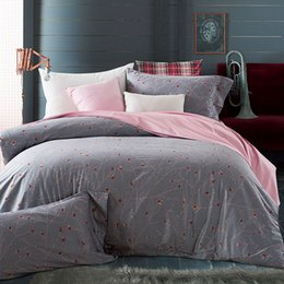 Wholesale King Egyptian Cotton Sheets - Grey Flowers Duvet Cover Set 100% Egyptian Cotton Pink Solid Color Bed Sheets Pilowcase Queen King Size Bedding Sets Bed Linens
