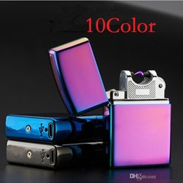 Wholesale Electronic Cigarettes Slim - Electronic Cigarette lighter Pulsed Arc Slim Windproof cigar Lighter USB Rechargeable Flameless Electric Arc Smoking Lighter c378