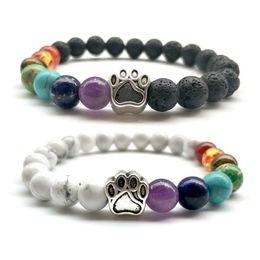 Wholesale Red Craft Beads - HOT!!! Lava Stone Bracelets Dog's Paw Beaded Bracelet Men's Women's Natural stone Strands Bracelet For Fashion Jewelry Crafts 8MM Beads