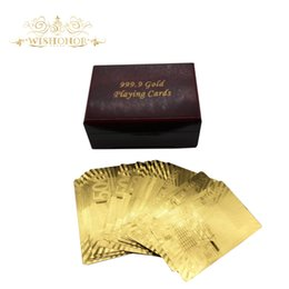 Wholesale 24k Gold Plated Playing Cards - Wishonor 2017 New Product 999.9 Gold Plated Playing Card Euro 500 In Red Box Poker Deck 24k Gold Foil Cards For Hot Sales