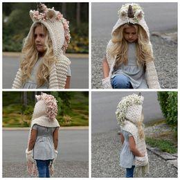 7 couleur filles écharpe Licorne hiver chapeau Wrap Licorne Caps mignonne automne chaud enfants laine tricotée écharpe à capuchon 6 pcs ? partir de fabricateur