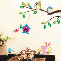 Kinder spielen kunst zu hause online-Tiere Wand Aufkleber Kinder spielen Zimmer Dekorationen Eulen Adesivos de Paredes Home Abziehbilder Kinderzimmer Wandbild Kunst Geburtstagsgeschenk