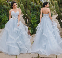 Wholesale Corset Tulle Skirt Prom Dresses - Eye-catching Silver Blue Ball Gown Evening Dresses Sweetheart Pleated Tulle Tiered Skirt Corset Prom Dresses Formal Dress Sweet 16 Dress