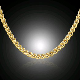 """Wholesale Perfect Wedding Anniversary Gift - 3.5mm 16-24inch High Quality 18K Real Gold Plated Box Chains Necklaces With """"18K"""" Stamp Men Jewelry Perfect Christmas Gift"""