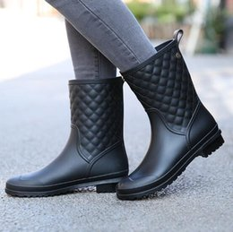 Wholesale Womens Plaid Boots - Fashionable new plaid casual shoes women rain boots non-slip water shoes in tube womens adult rain boots