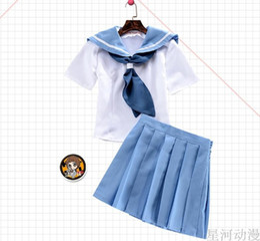 Wholesale Girls Sailor Skirt - Anime Kill La kill Cosplay Girl Dress Blue Sailor Suit Tops and Skirts 2 Pieces   set