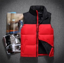 Wholesale Duck Vest Xl - Hot 2018 men DOWN winter down jacket North Polartec vest Male Sports Hooded Jackets Bomber Collar With Zippers Outdoor face Coats