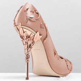 Wholesale modest heels - 2018 Ralph&Russo Pearl Pink Stain Gold Leaves Bridal Wedding Shoes Modest Fashion Eden High Heel Women occasion party dress shoes wear